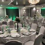 banquet room setup with rounds